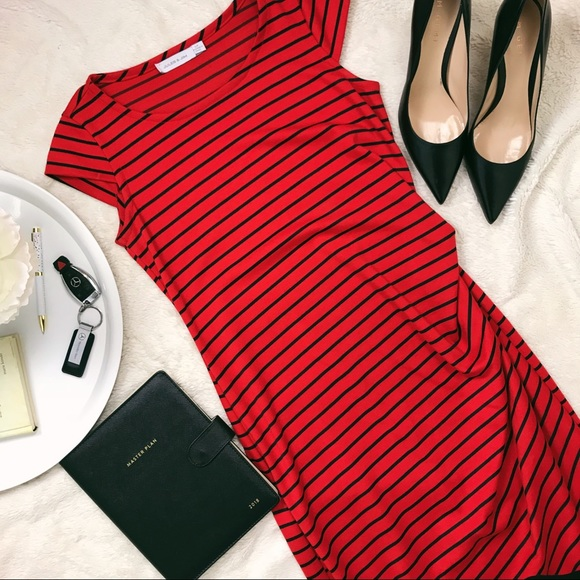 Dresses & Skirts - Jules and Jim Maternity Red Striped Dress